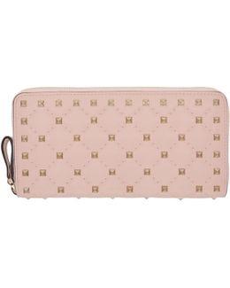 Pink Rockstud Spike Continental Zip Wallet