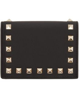 Black Small Rockstud French Flap Wallet