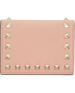 Pink Small Rockstud French Flap Wallet