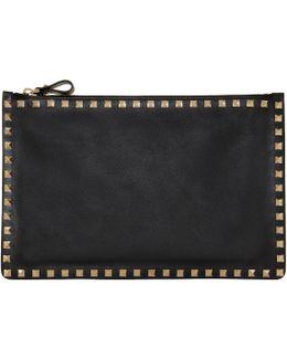 Black Leather Large Rockstud Pouch