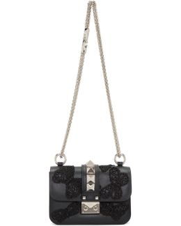Black Mini Butterfly Rockstud Lock Bag