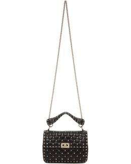 Black Medium Rockstud Matelassé Bag