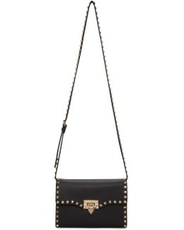 Black Medium Rockstud Flap Bag