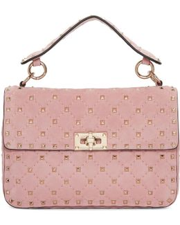 Pink Garavani Suede Medium Rockstud Spike Matelassé Chain Bag