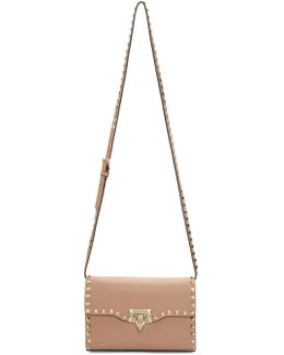 Tan Garavani Medium Rockstud Flap Bag