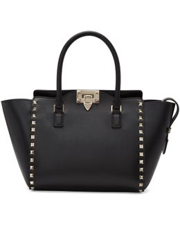 Black Small Rockstud Zip Tote