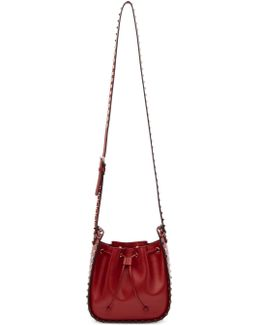 Red Garavani Small Rockstud Bucket Bag