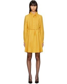 Yellow Pleated Bow Dress