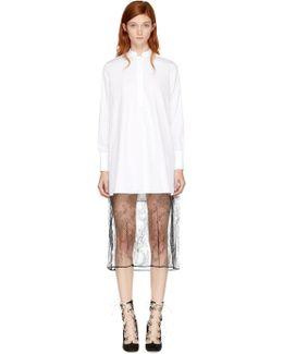 White Poplin & Lace Shirt Dress