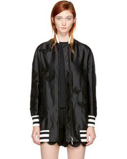 Black Long Butterfly Bomber Jacket