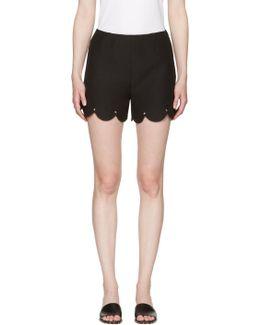 Black Scallop Rockstud Shorts