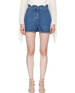 Blue Denim Scallop Waist Shorts