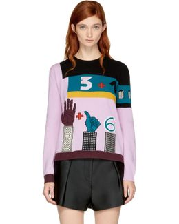 Multicolor Counting Colorblock Sweater
