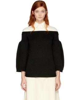 Ecru & Black Polo Sweater
