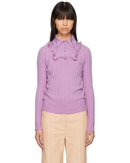 Pink Ribbed Polo Sweater