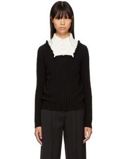 Black & Ecru Ribbed Polo Sweater