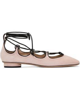 Black Suede Ghillie Ballerina Flats