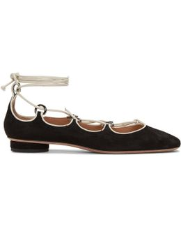 Black Suede Ghillie Flats