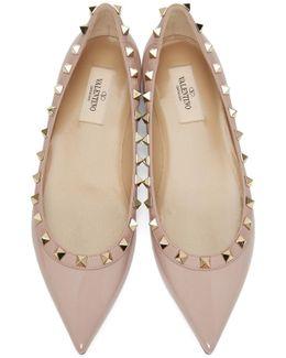 Pink Patent Rockstud Ballerina Flats