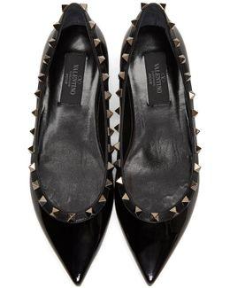 Black Patent 'rockstud Noir' Ballerina Flats