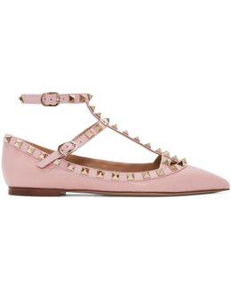 Pink Garavani Rockstud Cage Ballerina Flats