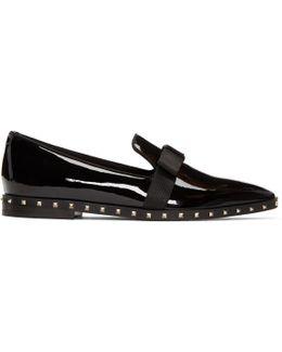 Black Patent Rockstud Loafers