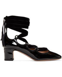 Black Patent & Velvet Ghillie Heels