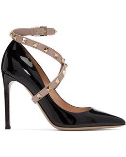 Black Garavani Patent Studwrap Heels