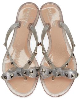 Silver Rockstud Jelly Bow Sandals