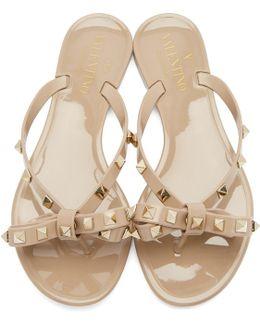 Pink Garavani Rockstud Jelly Bow Sandals