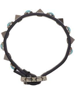 Black & Blue Rolling Rockstud Bracelet