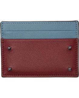 Red & Blue Garavani Small Rockstud Card Holder