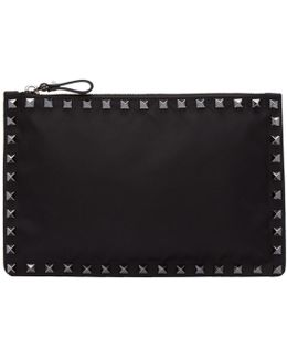 Black Small Nylon Rockstud Pouch