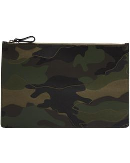 Green Leather & Canvas Camo Pouch