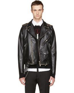 Black 'rockstud Untitled' 20 Leather Jacket