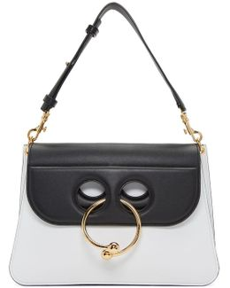 White & Black Medium Pierce Bag
