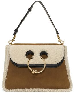 Tan Shearling Medium Pierce Bag