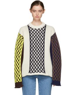 Off-white Contrast Cable Knit Sweater