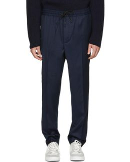 Navy Elastic Waist Trousers