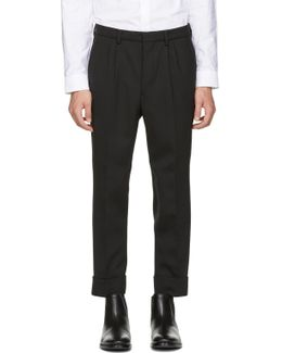 Black Wool Carrot Fit Trousers