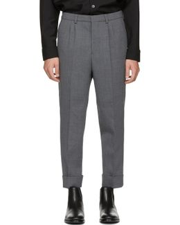 Grey Wool Carrot Fit Trousers
