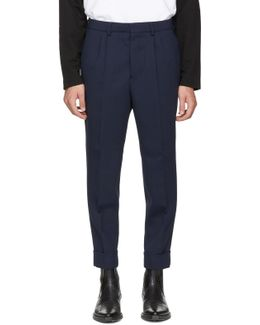 Navy Carrot Fit Trousers
