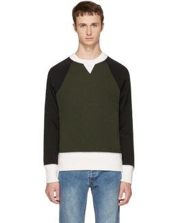 Khaki Raglan Crewneck Sweater