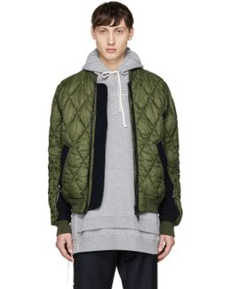 Green Quilted Ma-1 Bomber