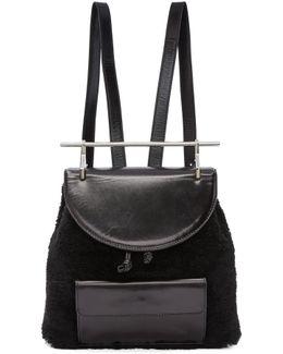 Black Shearling Backpack