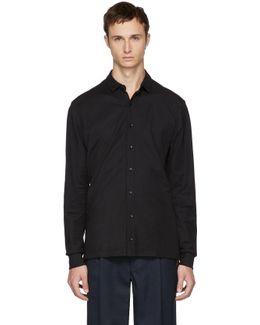Black Jersey Button-up Shirt