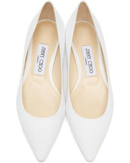 White Leather Romy Ballerina Flats