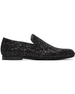 Black Glitter Sloane Loafers