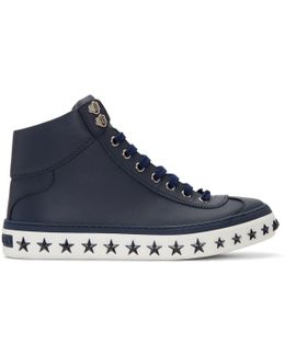 Navy Star Sole Argyle High-top Sneakers