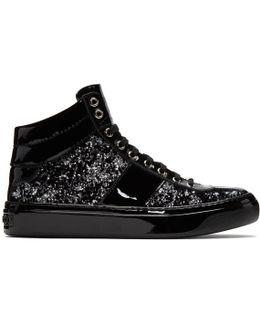 Black & Silver Velvet Belgravia High-top Sneakers